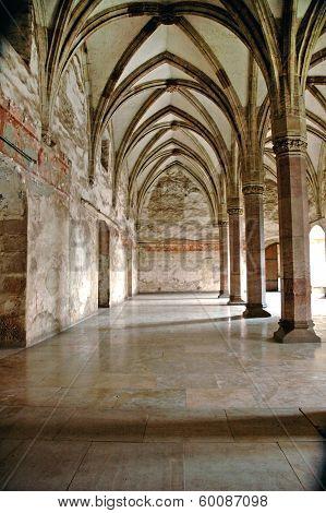 Interior of Corvinesti Castle Hunedoara Transylvania Romania poster