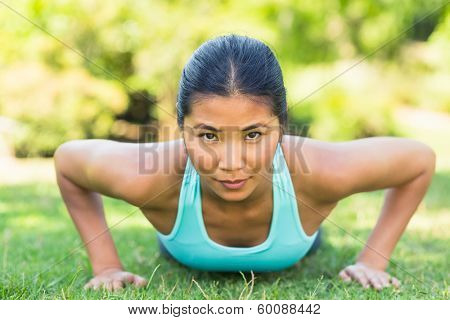Close-up portrait of a healthy and beautifulClose-up portrait of a healthy and beautiful young woman doing push ups in the park young woman doing push ups in the park