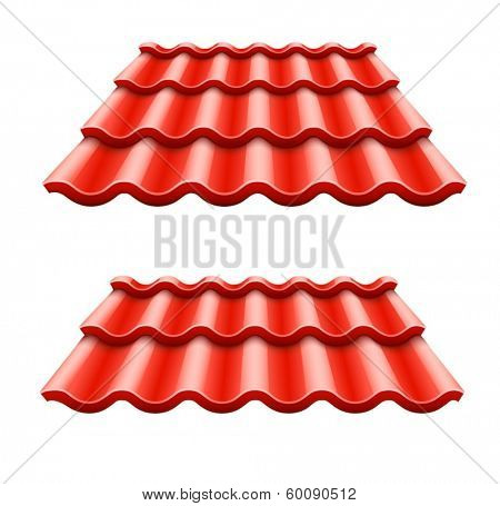 Red corrugated tile element of roof. Eps10 vector illustration. Isolated on white background