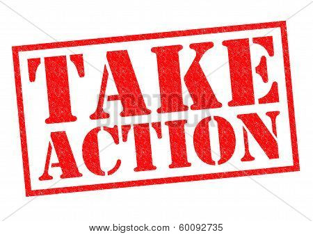 TAKE ACTION red Rubber Stamp over a white background. poster