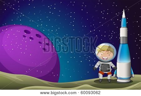 Illustration of a smiling astronaut beside the rocket in the outerspace