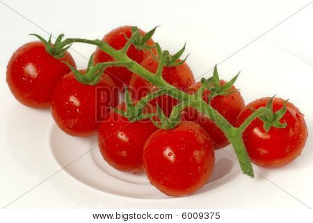 Red Cherry Tomatoes On The Vine