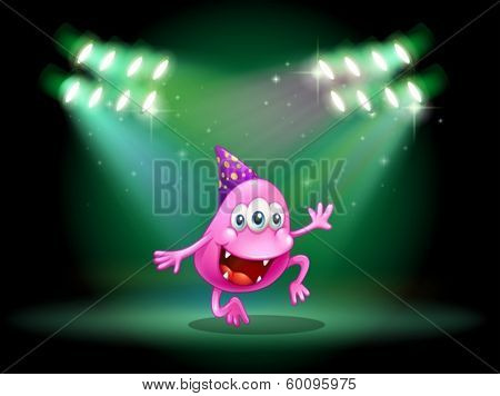 Illustration of a monster dancing in the middle of the stage
