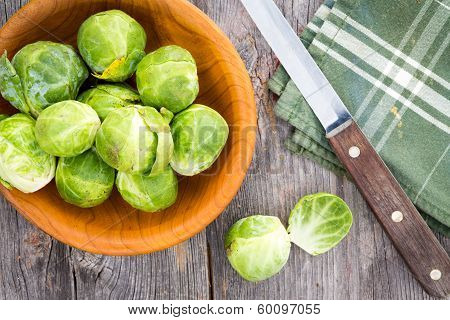 Preparing Brussels Sprouts For The Evening Meal