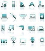 Set icons of home appliances on a white background poster