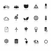 Ecology icons with reflect on white background stock vector poster