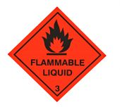 A red diamond shaped sign warning of flammable liquid poster