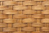 Background texture of light brown woven bamboo in closeup poster