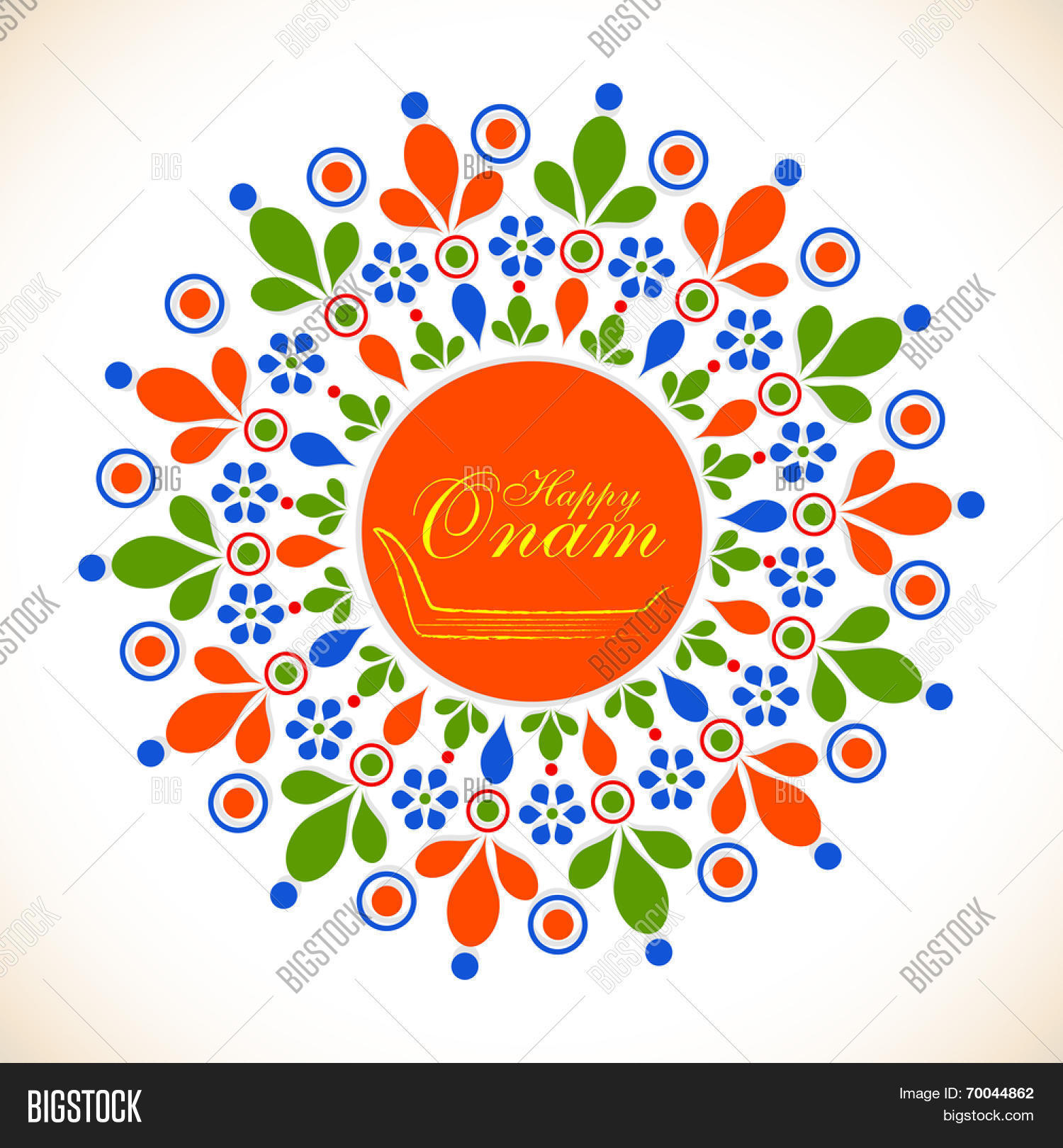 Colorful Floral Design Decorated Rangoli With Snake Boat And Golden Text Happy Onam