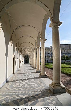 Columns And Shadows At The Certosa Di San Martino - Monastery At Naples, Italy