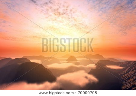 View from above clouds on mountains and sunset sky. Romantic and dramatic cloudscape