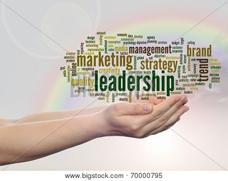 Concept or conceptual abstract leadership or business marketing word cloud or wordcloud in man or woman hand, rainbow sky background
