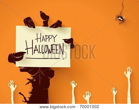 Zombie hand holding a blank sign card with ghosts hand on background