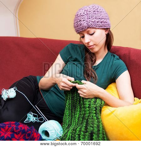 Colorful Background With Knitting Woman
