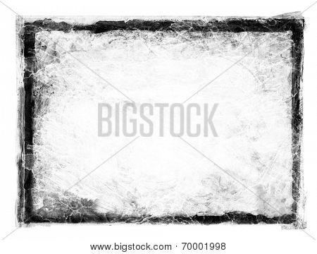 Black grunge dirty frame on white.