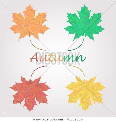 Maple leaves logo set