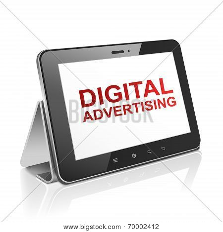 Tablet Computer With Text Digital Advertising On Display