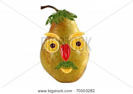 Funny Portrait Of A Man Made from Pears  And Oranges