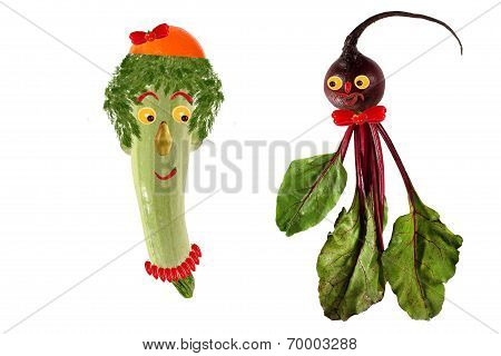 Funny Portrait Made of Zucchini,  Beet  And Fruits