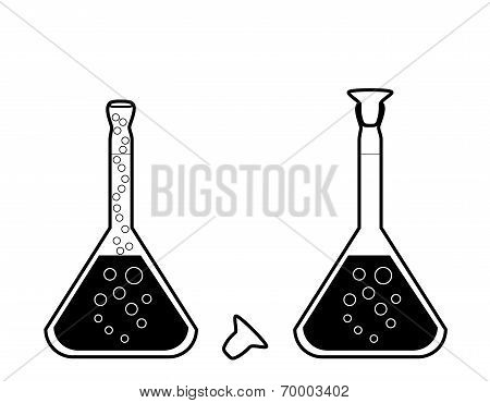 Chemical Volumetric Flask With Solution