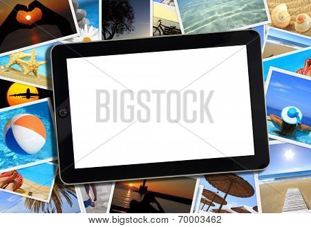 Collage with various summer travel photography and tablet