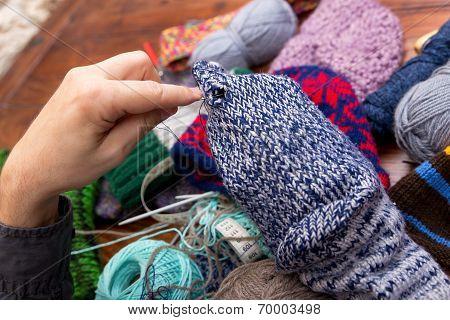 Male Hands Darn Wool Socks