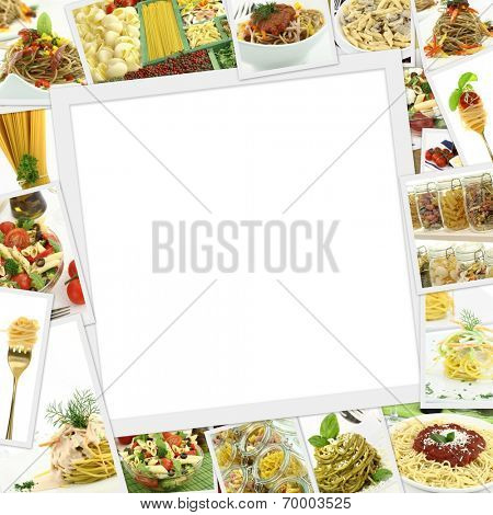 Collage with various pasta and blank frame in the middle
