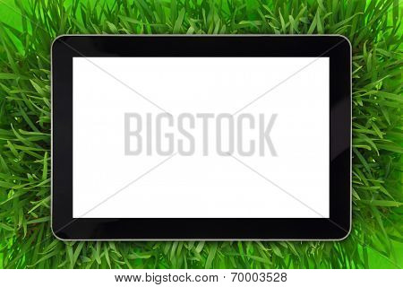 Tablet with blank white screen surrounded by grass
