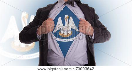 Businessman With Louisiana Flag T-shirt
