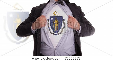 Businessman With Massachusetts Flag T-shirt