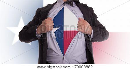 Businessman With Texas Flag T-shirt