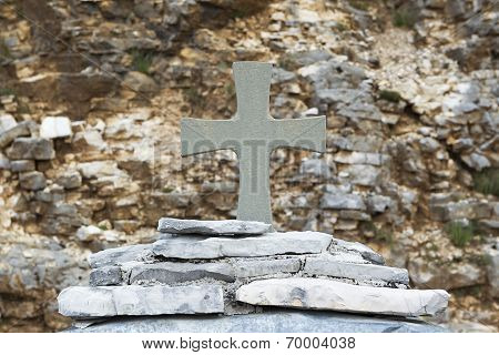 Cross On Marble Stones On The Mountain In Zagorochoria, Greece.