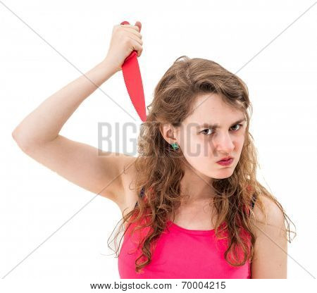 Woman with a knife on a white background