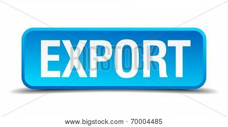 Export Blue 3D Realistic Square Isolated Button