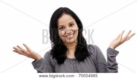 Surprised Young Woman Against White Background