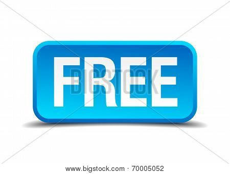 Free Blue 3D Realistic Square Isolated Button