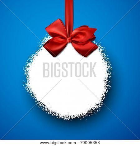Single paper christmas ball over blue. Vector illustration.