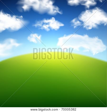 Green field with blue sky and clouds background. Vector illustration.