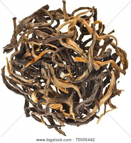Heap pile of Black Tea Golden Bud , China Yunnan,Surface Top view  isolated on white background