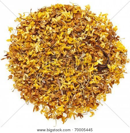 """Osmanthus """"Fragrant Flower"""" Tea supplement Heap pile Surface Top View  isolated on white background"""