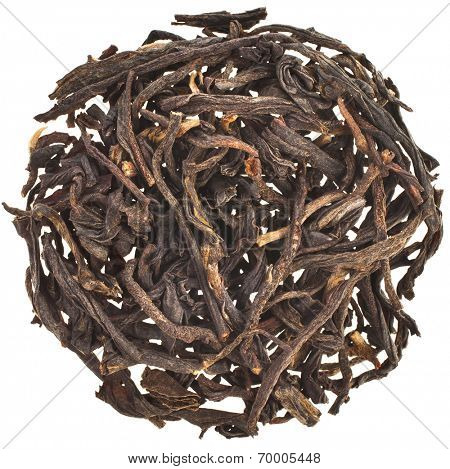 dry black tea leaves Dian Hong, Heap pile top view surface  isolated on white background