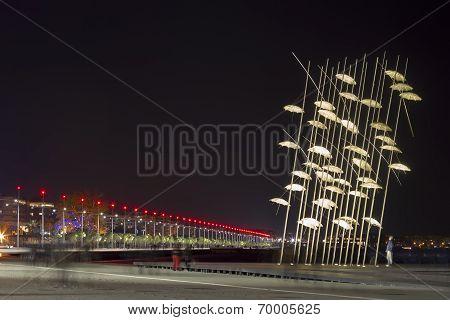 Thessaloniki Umbrellas Sculpture At Night, Greece