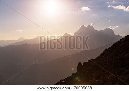 Ushba peak, Caucasus Mountains. Svaneti