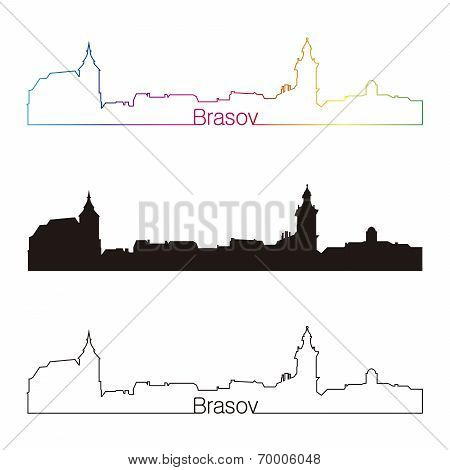 Brasov Skyline Linear Style With Rainbow