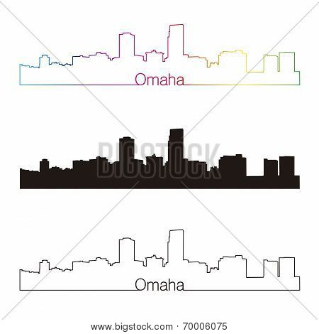 Omaha Skyline Linear Style With Rainbow