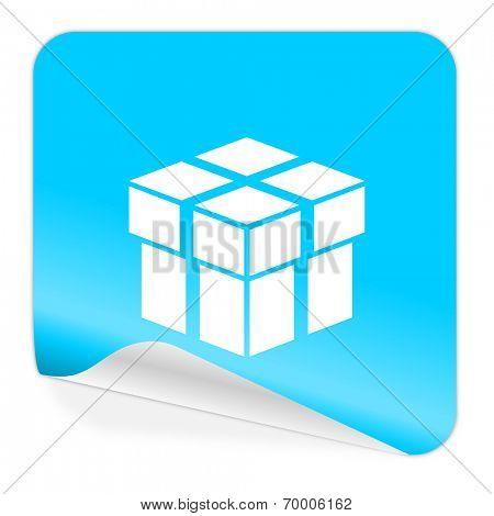 box blue sticker icon