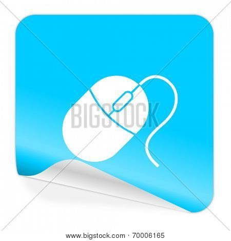 mouse blue sticker icon