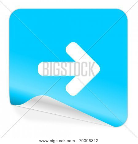 right blue sticker icon