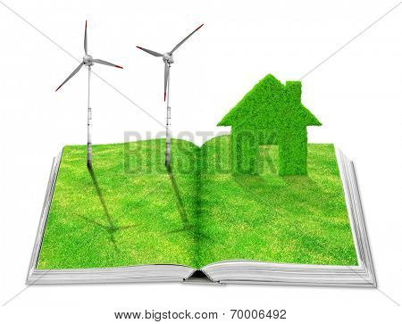 Eco book with green house icon and wind turbines