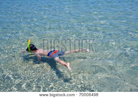 Little boy swimming in a shallow water